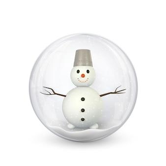 Fond de noël festif. bonhomme de neige à l'intérieur des boules de noël rougeoyantes de paillettes brillantes. illustration vectorielle.