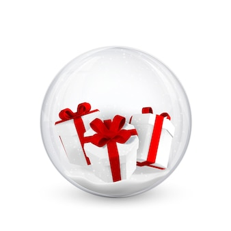 Fond de noël festif. coffrets cadeaux et confettis à l'intérieur de boules de noël brillantes et brillantes. illustration vectorielle.