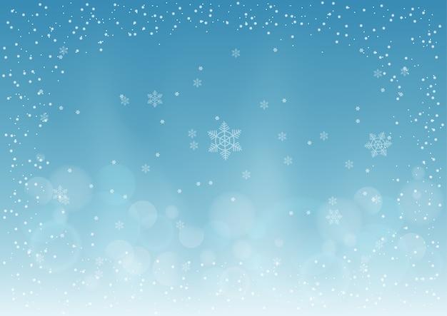Fond de noël avec flocon de neige et neige