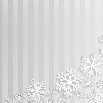 Fond de noël avec des flocons de neige blancs sur fond rayé gris
