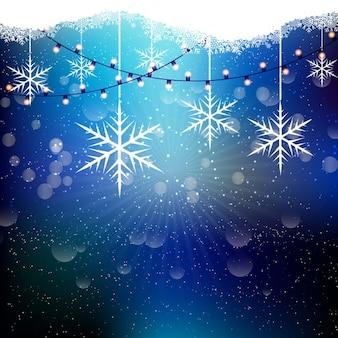 Fond de noël avec des flocons de neige et guirlandes lumineuses