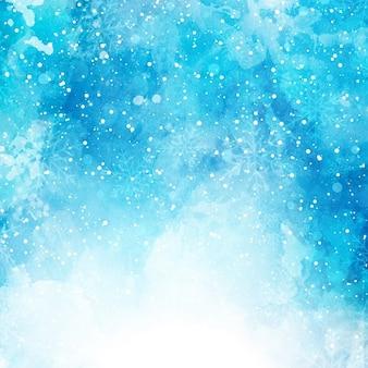 Fond de noël avec des flocons de neige sur une texture d'aquarelle