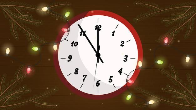 Fond de noël avec horloge nouvel an nouvel an célébration du nouvel an