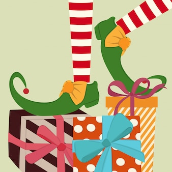 Fond de noël avec des jambes d'elfe et des cadeaux
