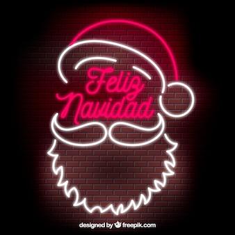 Fond De Noël Joyeux Noël Néon Père Noël Vecteur gratuit