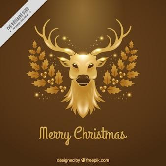 Fond de noël merry avec des cerfs d'or