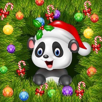 Fond de noël avec un ours panda heureux