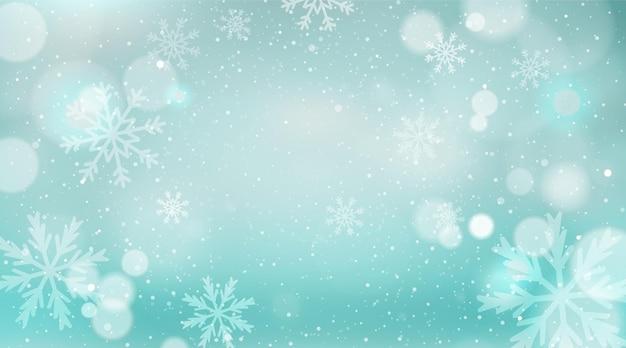 Fond de noël avec paysage d'hiver flou