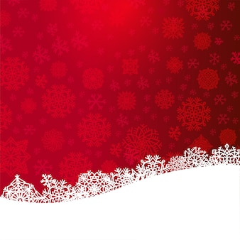 Fond de noël rouge avec du papier coupé des flocons de neige blanches