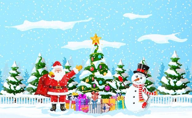 Fond de noël. sapin de noël guirlandes boules coffrets cadeaux père noël et bonhomme de neige.