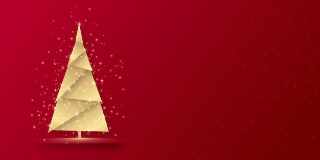 Fond de noël simple et élégant avec un arbre doré brillant sur fond rouge joyeux noël costume pour ...