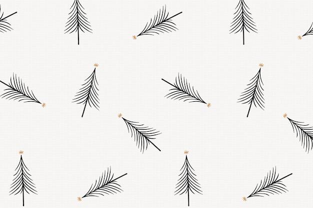 Fond de noël simple, motif d'arbres noirs, vecteur de conception de griffonnage mignon