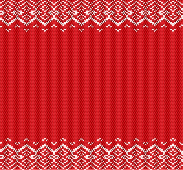 Fond de noël tricoté. ornement géométrique rouge et blanc. noël en tricot hiver design de texture de pull.
