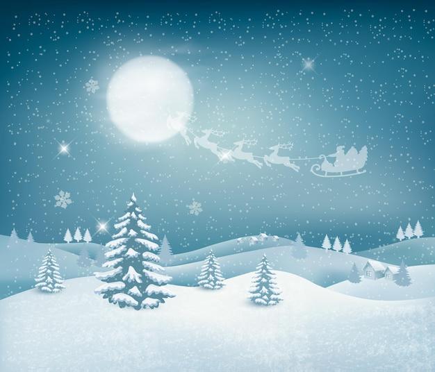 Fond de noël de vacances avec paysage d'hiver