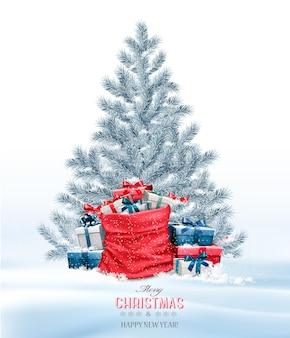 Fond de noël de vacances avec un sac plein de coffrets cadeaux et d'arbres.