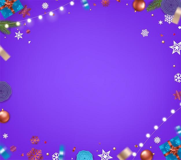 Fond de noël violet. éléments de noël