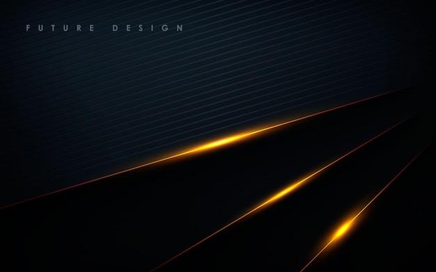 Fond noir abstrait de luxe avec des couches de lumière dorée