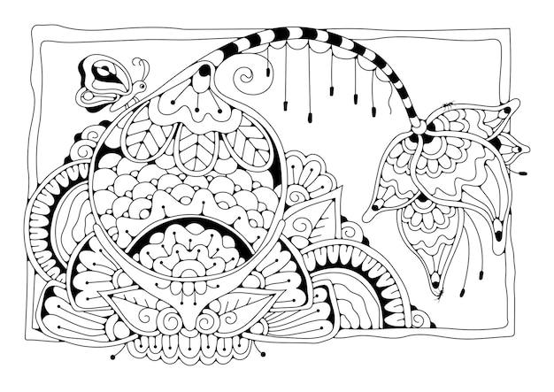Fond noir et blanc à colorier dans le style de doodle. illustration florale. coloriage pour enfants et adultes.