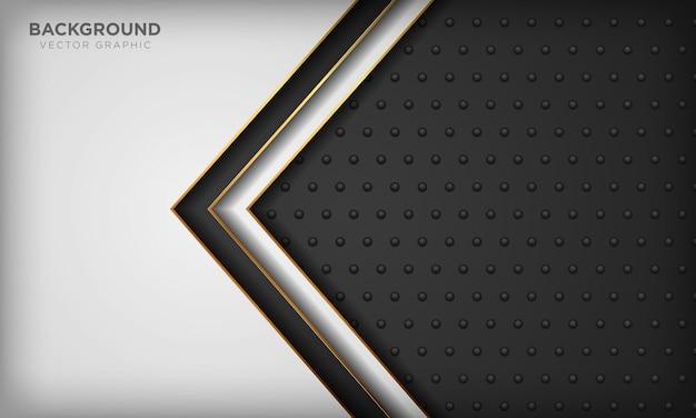 Fond noir et blanc avec élément de ligne dorée sur texture métal foncé. fond de luxe moderne.