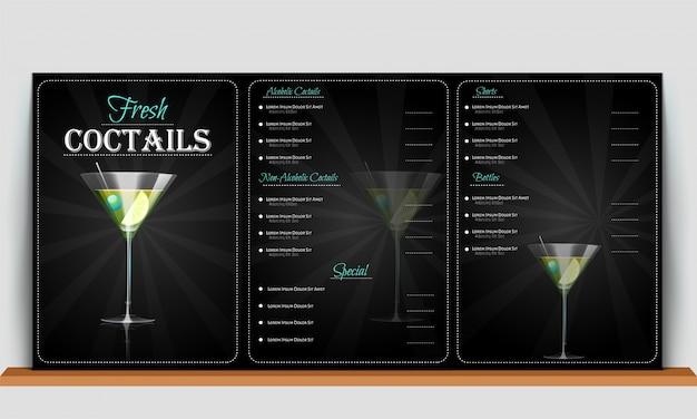 Fond noir sur la carte de menu de cocktails frais.