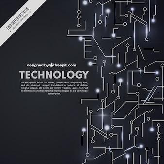 Fond noir avec des circuits technologiques