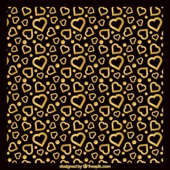 Fond noir avec des coeurs d'or
