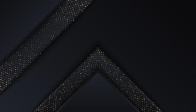 Fond noir avec des couches de chevauchement de points lumineux dorés