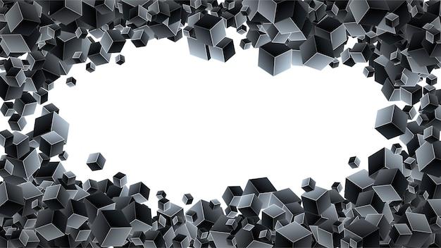 Fond noir avec des cubes géométriques