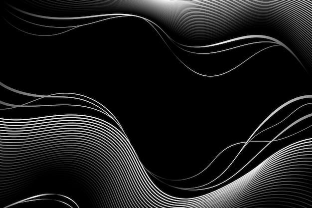 Fond noir dégradé avec des lignes ondulées