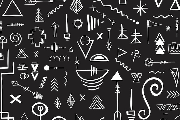 Fond noir doodle tribal bohème