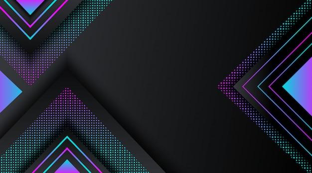 Fond noir avec forme géométrique de paillettes néon dégradé