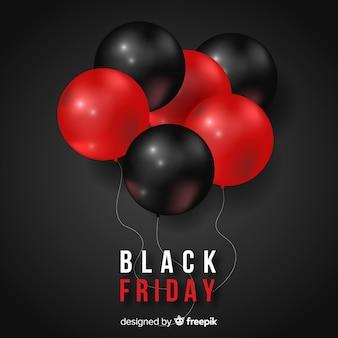Fond noir groupe de ballons vendredi