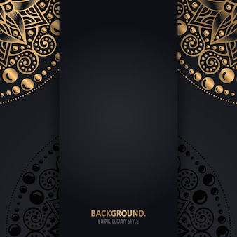 Fond Noir Islamique Avec Des Cercles De Mandala Géométriques Dorés Vecteur gratuit