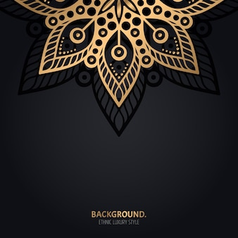 Fond noir islamique avec décoration mandala or