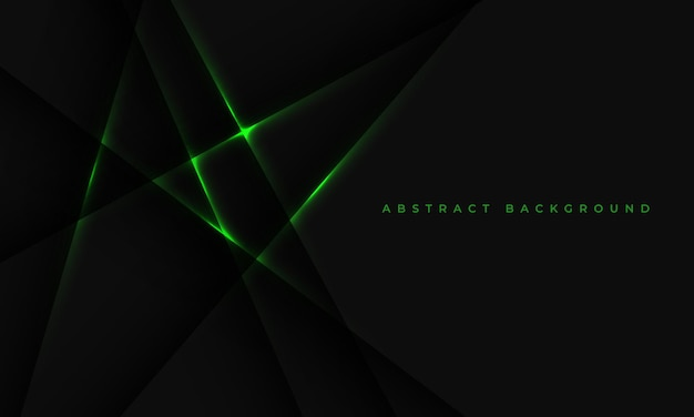 Fond noir avec des lignes de lumière verte abstraites et des ombres