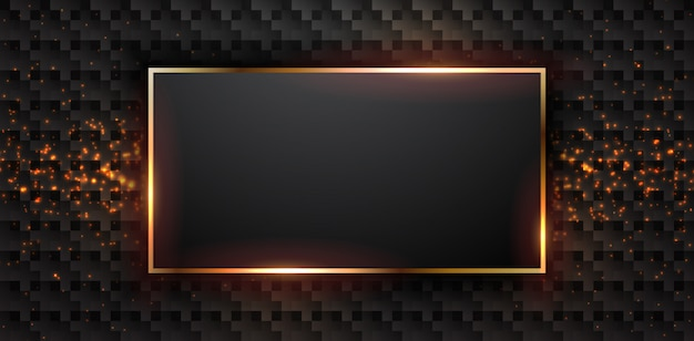 Fond noir de luxe avec cadre rectangle.