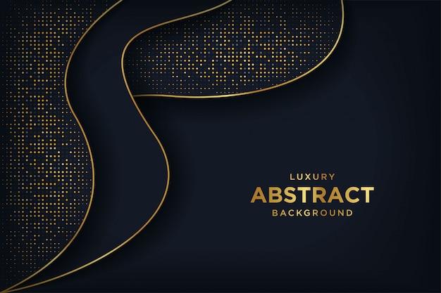 Fond noir de luxe avec une combinaison de points dorés brillants.