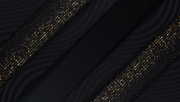 Fond noir de luxe avec des points de paillettes dorées