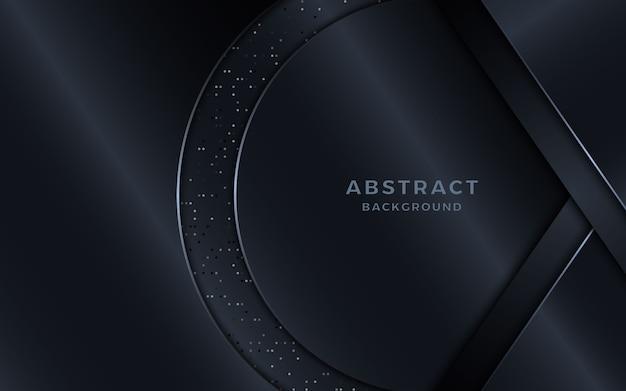 Fond noir luxueux avec des éléments en forme de cercle et des points.
