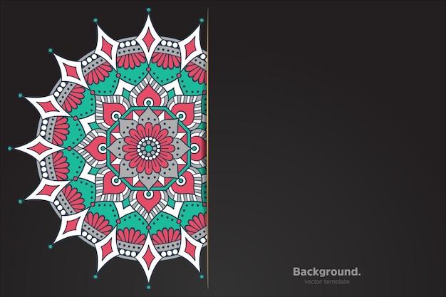 Fond noir avec mandala oriental abstrait