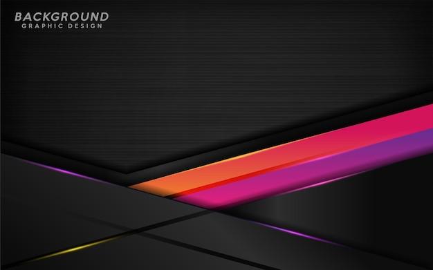 Fond noir moderne avec combinaison de lignes violettes et orange.