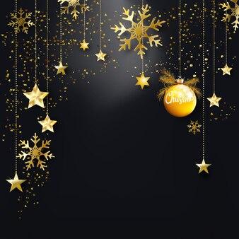 Fond noir de noël avec des ornements de confettis de paillettes d'or pour cartes, bannière