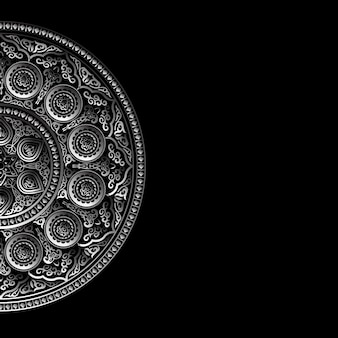 Fond noir avec ornement rond en argent - style arabe, islamique et oriental