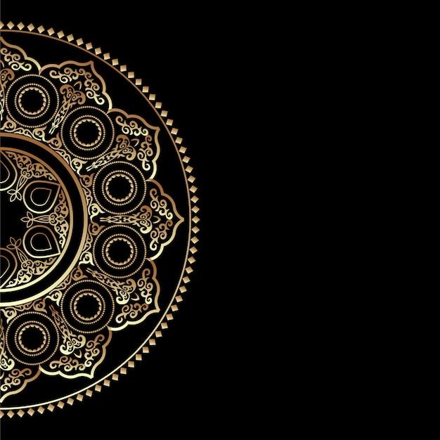 Fond noir avec ornement rond doré - style arabe, islamique et oriental
