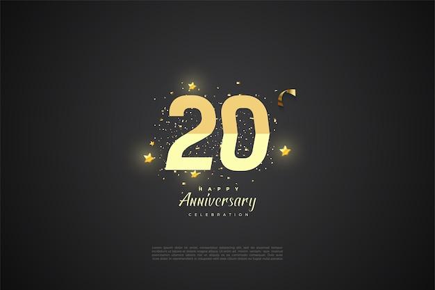 Fond noir pour 20e anivversaire avec numéros brillants