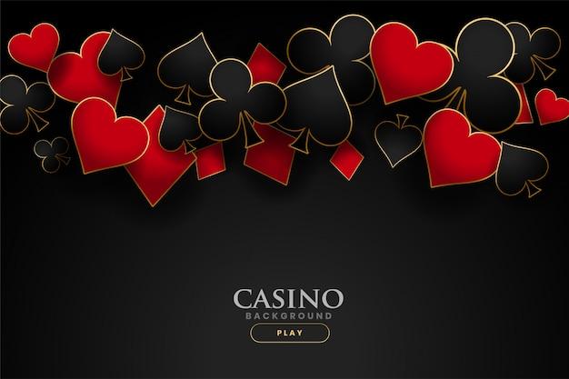 Fond noir de symboles de cartes à jouer casino