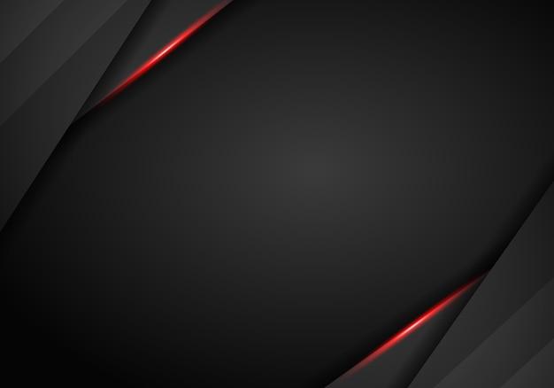 Fond noir tech avec rayures contrastées rouges. conception de brochure graphique abstract vector