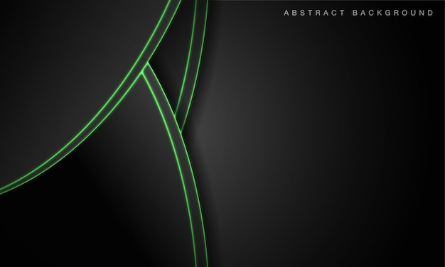 Fond noir de technologie futuriste abstraite avec des lignes lumineuses au néon vert