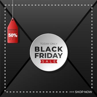 Fond noir vendredi avec étiquette