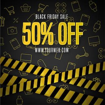 Fond noir vendredi avec des icônes de la boutique